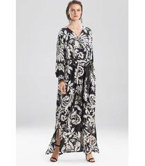 mantilla scroll maxi dress, women's, black, silk, size xs/s, josie natori