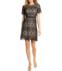 women's chelsea28 embroidered lace a-line dress, size medium - black
