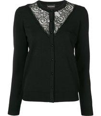 emporio armani lace inserts cardigan - black