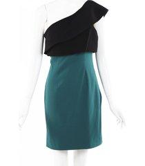 monique lhuillier color block one shoulder dress black/green sz: m