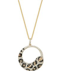 14k gold & diamond leopard cutout pendant necklace