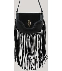 bolsa feminina transversal média com franjas preta