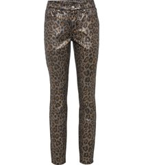 leopardmönstrade jeans i metallic-design