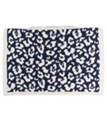 ami amalia fronha de tricô e lã merino com estampa de leopardo - azul