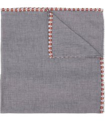 caffe' d'orzo floral-embroidered scarf - grey
