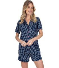 pijama inspirate  curto aberto dreaming azul - azul marinho - feminino - dafiti