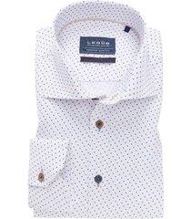 ledub overhemd tailored fit blauw wit dessin