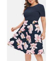 plus size flower print a line dress