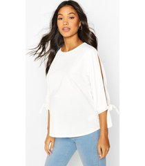 maternity cold shoulder tie sleeve top, white