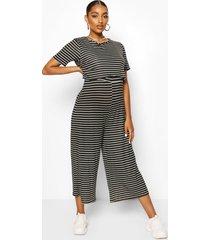 maternity stripe nursing culotte jumpsuit, black