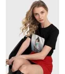camiseta negro-multicolor mng