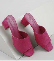 tamanco feminino oneself salto quadrado médio em suede pink