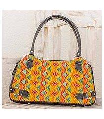 leather accent cotton shoulder bag, 'splendid tradition' (guatemala)