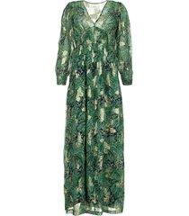 maxi jurk met bloemenprint quartz  groen
