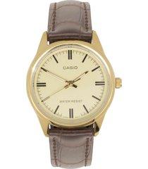 reloj casio ltp_v005gl_9a marrón cuero