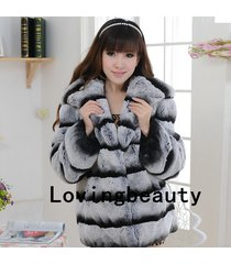 chinchilla grey hooded jacket striped real rex rabbit fur coat chinchilla fur