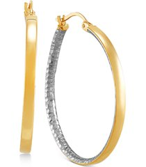 two-tone medium polished & textured hoop earrings in 14k gold & rhodium-plate