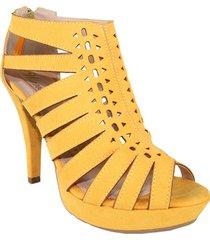 zapatos  sandalias tacon alto  con  plataformas mostaza lince  wanted