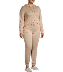 catherine malandrino women's plus 2-piece hoodie & joggers set - camel - size 1x (14-16)