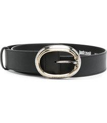 just cavalli oval buckle belt - black