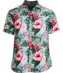 camisa areia branca slim fit floral taiti estampada verde