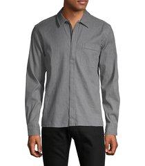hugo men's regular-fit zip-up shirt - grey - size s