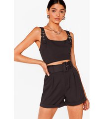 womens bad buckle babe crop top and shorts set - black
