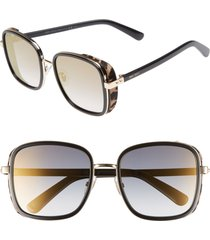 jimmy choo elva 54mm square sunglasses in black/gold/leopard at nordstrom