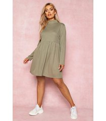 recycled rib roll neck smock dress, olive