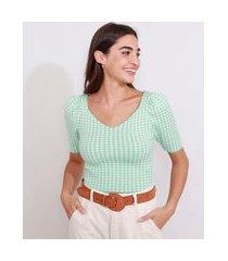blusa de tricô feminina manga bufante cropped estampada xadrez vichy decote v verde claro