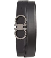 men's big & tall salvatore ferragamo gancio reversible calfskin leather belt, size 46 - black/ hickory