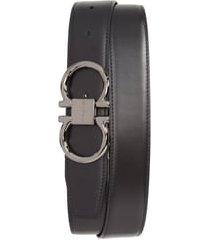 men's salvatore ferragamo gancio reversible calfskin leather belt