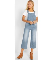 3/4 stretch denim tuinbroek, wide, gestreept