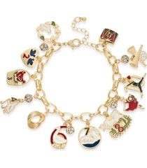 holiday lane gold-tone pave 12 days charm bracelet, created for macy's