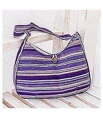 cotton hobo bag, 'violet synchronicity' (guatemala)