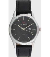 relógio couro technos 2115msg/0p preto/prata