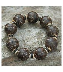 coconut shell stretch bracelet, 'coco breeze' (thailand)