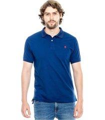polo unicolor logo bordado color blue
