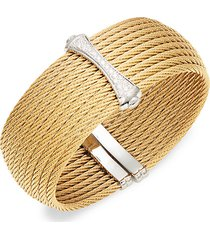 18k white & yellow gold diamond woven cuff bracelet