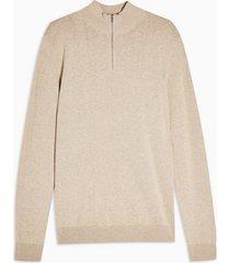 mens stone marl zip turtle neck sweater