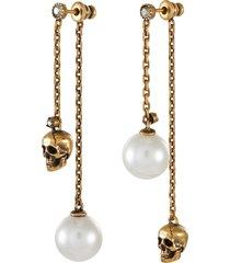swarovski pearl skull drop chain earrings