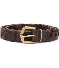 ajmone crocodile-effect braided belt - brown