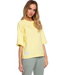 sweater moe m584 pullover top met korte mouwen - citroen