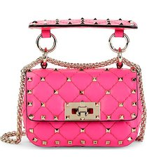 valentino garavani women's mini studded leather crossbody bag - pink