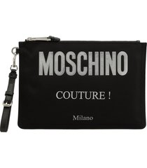 moschino fabric clutch with logo