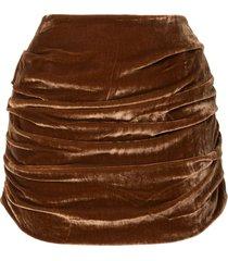 georgia alice draped velvet mini skirt - brown