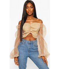 puff sleeve organza cropped blouse, champagne