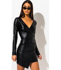 akira tellin me long sleeve vegan leather mini dress