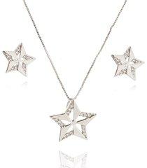 conjunto lua mia joias estrela com zircônias banho ródio