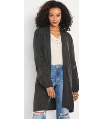 maurices womens solid crochet long sleeve cardigan gray